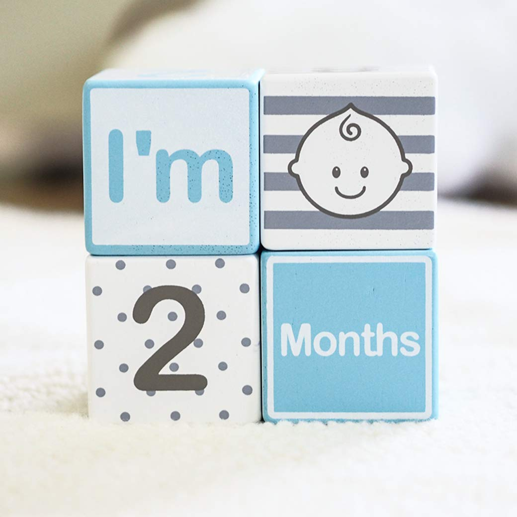 I'M Solid Wood Baby Milestone (Day Month & Week) Large Building Blocks Set for Toddlers Photo Props (4 Pcs / Blue)