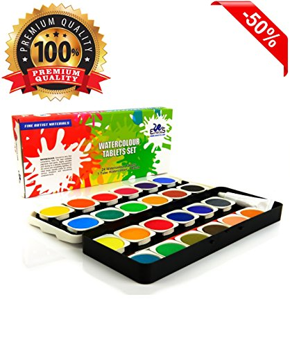 Watercolor Paint Set - The Best Artist Kit of 24-Color Paint - For Kids Adults Beginners and Professionals - Extra Light Travel Case - Brush in the Kit - Opaque Pan Set - Create Great Painting on Paper - High Quality - Money Back Guarantee (Aqua Colors Face Paint compare prices)
