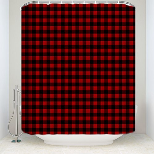 Bed Curtain Plaid (Custom Shower Curtains Rustic Red Black Buffalo Check Plaid Pattern Shower Curtain)