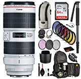 Canon EF 70-200mm f/2.8L is III USM Lens (3044C002) with Professional Bundle Package Deal Kit for Canon EOS Includes: DSLR Sling Backpack, 9PC Filter Kit, Sandisk 64GB SD + More