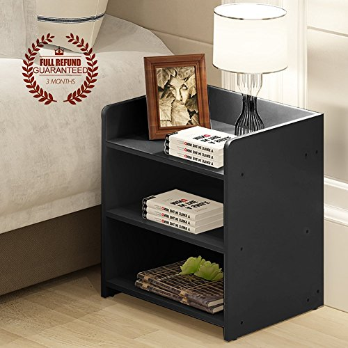 No Drawer Nightstand, Wooden End Table/Side Table, Black
