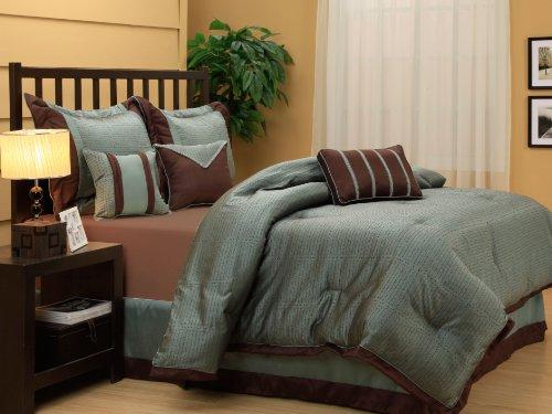 Nanshing Tobey King 7 Piece Jacquard Comforter Set  Aqua Chocolate