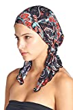 head scarves for women - Ashford & Brooks Women's Pretied Printed Fitted Headscarf Chemo Bandana - Black Navy Paisley