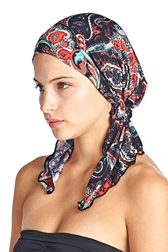 (Ashford & Brooks Women's Pretied Printed Fitted Headscarf Chemo Bandana - Black Navy Paisley)