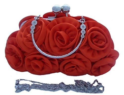 Flower ORANGE prom 12 Clutch Colours ORANGE Handbag Satin Wedding Silk Rose Party Evening BURNT 8qcTEOzx