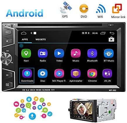 Camecho Double Din Android Car Stereo Radio 6.2 Touch Screen DVD Player Build-in GPS Navigation WiFi Bluetooth Support Android iOS Mirror Link with FM USB SD Backup Camera Input APP Download