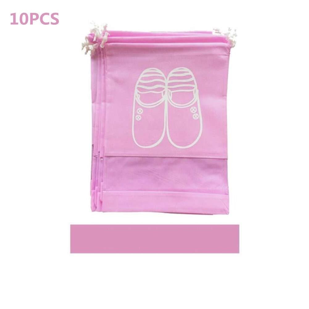 OUYAWEI 10PCS//Set Practical Waterproof Travel Shoes Storage Bag Non-Woven Dust-Proof Shoe Bag