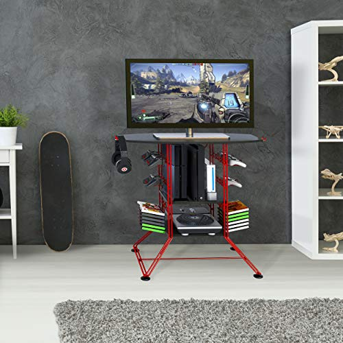 """Atlantic Centipede Game Storage TV-Stand - 37"""" TV Stand, Durable Wire Construction with Game Storage, Organize your Games, Controllers, 4 Game Consoles and More ON 45506142B in Red"""