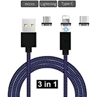 obbye 3 in 1 nylon phone charger cable Micor iphone Android Type-c flat head braided wire magnetic data cable triple Magnetic phone cable 3.28 ft