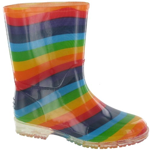 Kids Wellington (Cotswold PVC Kids Rainbow Welly/Little Girls Boots (11.5 US Junior) (Multi))