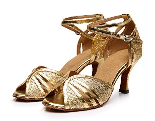 Tda Donna Moda Peep Toe Glitter Cuoio Sintetico Salsa Tango Da Ballo Latino Scarpe Da Ballo Moderno Oro
