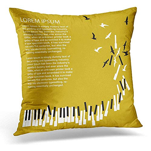 (qingqing-us Throw Pillow Covers Note Piano Keys Turn Into Birds for Concert Music Festival Announcement Song Decorative Pillows Cover Home Decor Pillow Case 18x18 Inches/45x45cm)