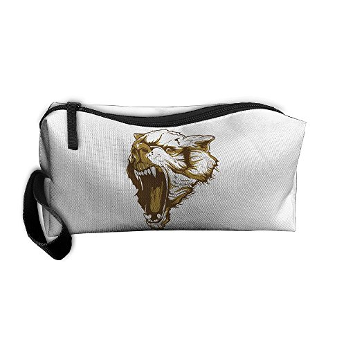 Cosmetic Bags Brush Pouch Makeup Bag Wolf Howl Zipper Wallet Hangbag Pen Organizer Carry Case Wristlet Holder ()