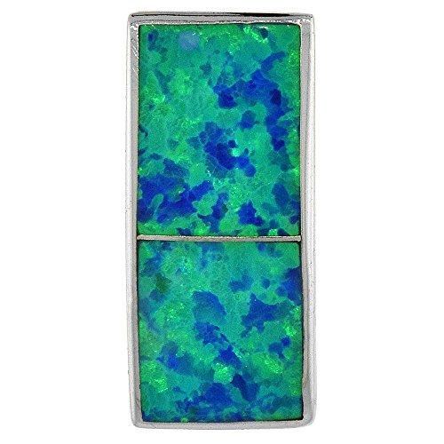 angular Slide Pendant Synthetic Opal Inlay 3/4 inch X 5/16 inch (19 X 8 mm) (Inlay Sterling Silver Slide Pendant)