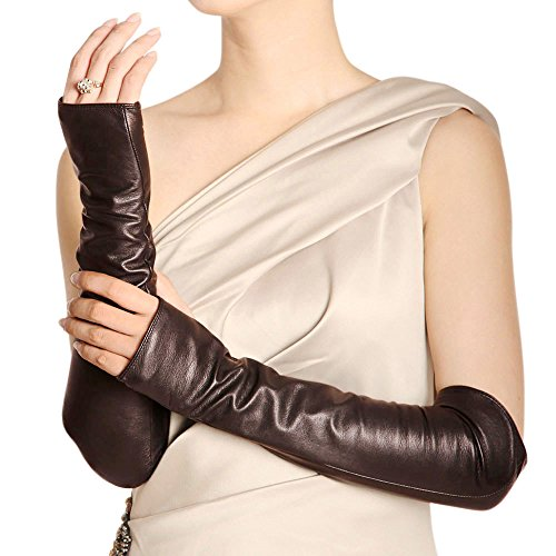WARMEN Women Genuine Nappa Leather Elbow Long Fingerless Driving Gloves for Fur Coat (M, Brown) (Ladies Brown Leather Gloves)