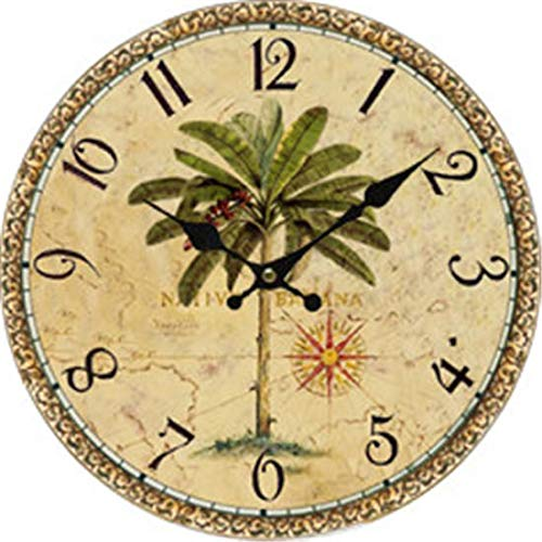 (Moonluna Palm Tree Wooden Rustic Wall Clock Farmhouse Style Silent Round Clock for Home Decoration 12 Inches)
