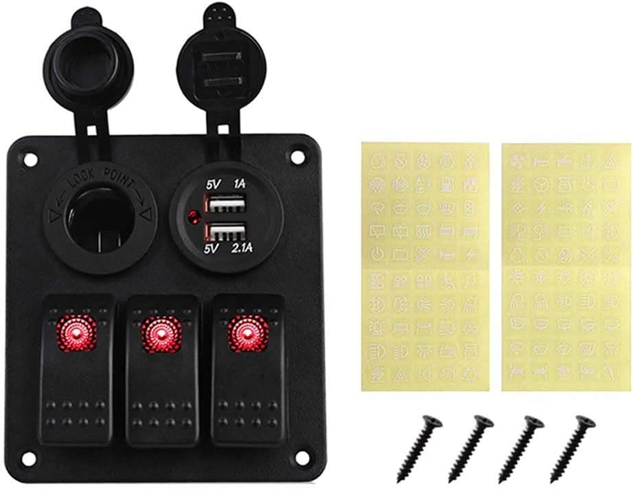 CT-CARID Panel de interruptor basculante LED de 3 interruptores para barco y caravana con puerto de carga USB doble adaptador de bolsillo de alimentaci/ón para coche marino resistente al agua