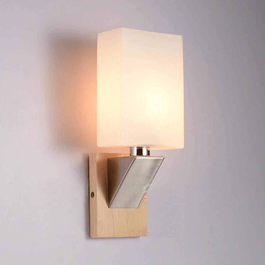 Wandleuchten GAOLILI Nachttischlampe Wohnzimmer Flur LED Massivholz Lampe Schlafzimmer Gang Balkon Treppenleuchte E27 (Größe   10cm)