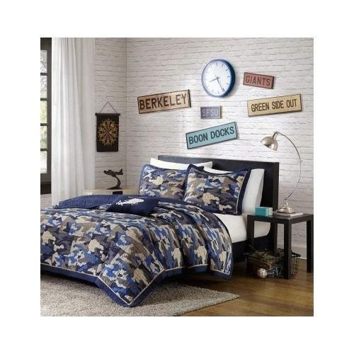 Reversible Teen Boys Kids Blue Camo Print Coverlet Bedding Set with Pillow (Twin/twin Xl) Includes Scented Candle Tarts