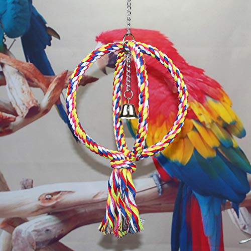 Bird Swing Perch Cotton Rope 2 Two Rings Toy for Parrot Budgie Parakeet Cockatiel Conure Lovebird Finch Canary Cockatoo African Grey Macaw Eclectus Amazon Cage Perch Stand