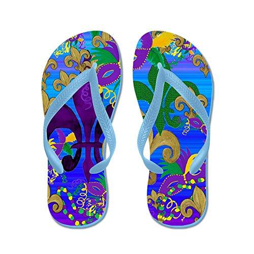 Cafepress Mardi Gras Psycadelic Fleur De Lis - Flip Flops, Roliga Rem Sandaler, Strand Sandaler Caribbean Blue