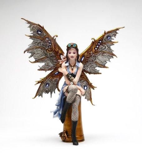 11.38 Inch Aviator Steampunk Large Winged Fairy Statue Figurine