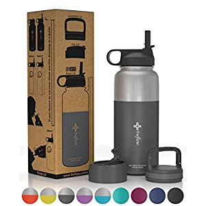 the flow Stainless Steel Water Bottle Double Walled/Vacuum Insulated - BPA/Toxin Free – Wide Mouth with Straw Lid, Carabiner Lid and Flip Lid, 32 oz.(1 Liter) (Stainless Grey, 32oz)