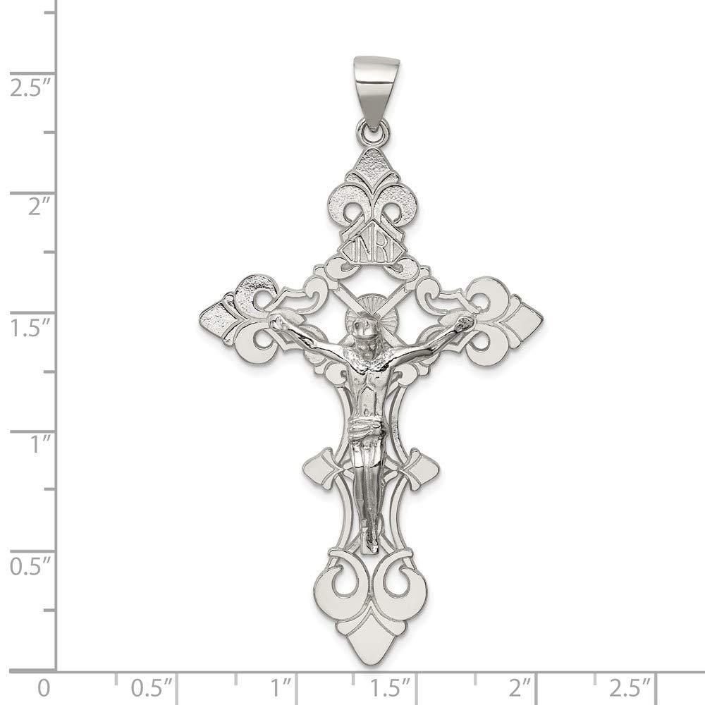 Mia Diamonds 925 Sterling Silver Solid Polished Largeinri Crucifix Pendant