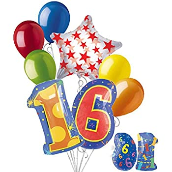 8 Pc 16th Birthday Theme Balloon Bouquet Party Decoration Number Primary Color
