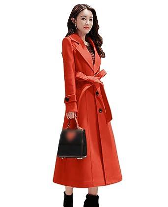 1b20b0a88229 Yiiquan Femme Slim Manteau Long Faux Manteau Laine Hiver Chaud Vintage Chic  Parka Trench Coat avec
