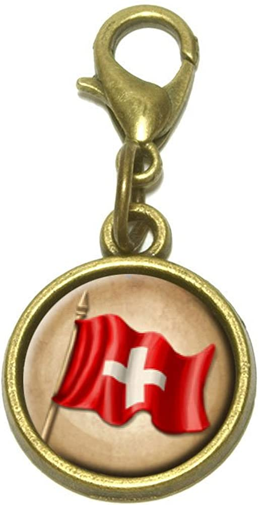 Made On Terra Vintage Swiss Flag Switzerland Cute Bracelet Pendant Charm