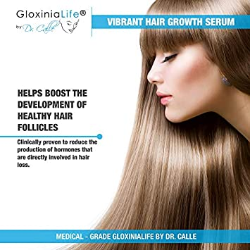 GloxiniaLife by Dr. Calle Vibrant Hair Growth Serum- Natural Hair Loss Treatment- For Men and Women- Prevents Loss and Stimulates Regrowth, 1 oz