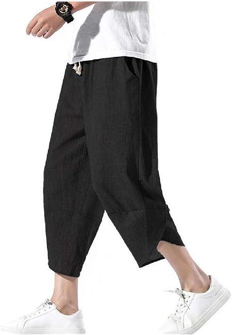 Romancly メンズ ヴィンテージ オーバーサイズ 3/4 パンツ コットンリネン パラッツォ ラウンジ パンツ