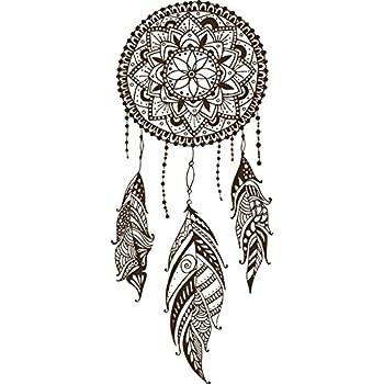Amazoncom Dainty Brown Henna Flower Feather Dream Catcher Drawing