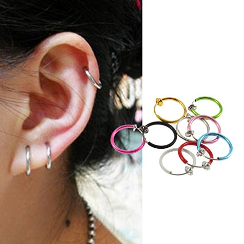 Lamijua Random Color Clip on Fake Hoop Boby Nose Lip Ear Stud Earrings Punk Goth Piercing Put On Your Suitable ()
