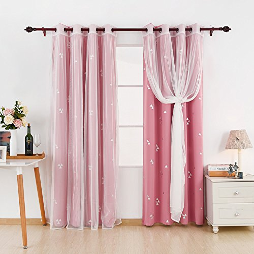 Deconovo Mix And Match Curtain Set 2-Piece Triangle Printed Blackout Curtains Pair Pink and 2-Piece White Tulle Lace Sheer Curtains for Girls Room with Grommet Top, 4 Curtain Panel, 52W x 84L Inch