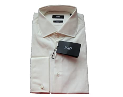 4b4ce0e3 BOSS New Hugo Mens White Ivory Double Cuff Regular FIT Easy Iron Formal  Shirt Gale 50175008: Amazon.co.uk: Clothing
