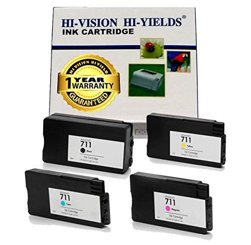 HI-VISION ® 4 Pack Compatible HP CZ133A CZ130A CZ132A CZ131A (HP 711) Black Cyan Yellow Magenta Ink Cartridge for Designjet T120, Designjet T520 ePrinter