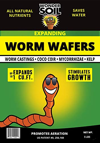 Wonder Soil Organic Worm Castings Wafers With Amendments - A natural organic fertilizer. Stimulates Plant Growth (5lb Bag Expands to 20lbs)