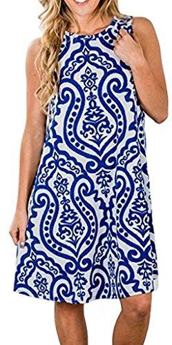 Summer Beach Dresses for Women Tshirt Sundresses Boho Casual Sleeveless Floral Shift Pockets Swing Loose Damask Blue Large