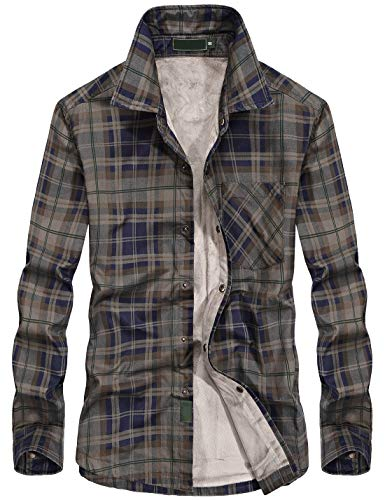Men Flannel Thermal - Chartou Men's Thermal Button-Down Fleece Lined Flannel Plaid Twill Work Shirt Jacket (Large, Dark Army)