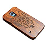"""Happy Hours - Galaxy S5 5.1"""" Engraved Wooden Case / 2-in-1 Shockproof Drop Protection Cover Shell with Velvet Inside for Samsung(Wolf)"""