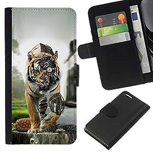 NEECELL GIFT forCITY // Billetera de cuero Caso Cubierta de protección Carcasa / Leather Wallet Case for Apple Iphone 5C // Steam Punk Tigre