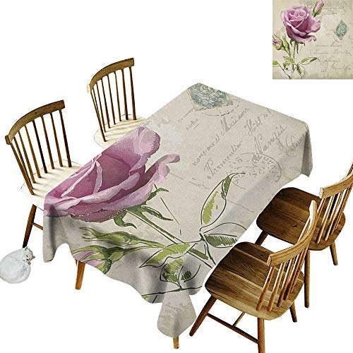 Anti-wrinkle and anti-wrinkle polyester long tablecloth For weddings/banquets Vintage Postcard Design with Delicate Rose Blossom Hand Drawing Artsy Print W14 x L108 Inch Tan Pale Pink - Postcard Bacon