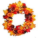 Artificial Pumpkin Pinecone and Maple Leaf Wreath Autumn Maple Leaf Wreath with Berry Lights for Halloween and Thanksgiving Home Indoor or Outdoor Arrangement Decoration
