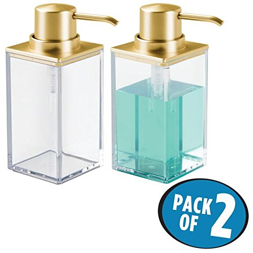 mDesign Liquid Hand Soap Dispenser Pump Bottle for Kitchen, Bathroom | Also Can be Used for Hand Lotion & Essential Oils - Pack of 2, Square, Clear/Gold (Traditional Holder Classic Soap)