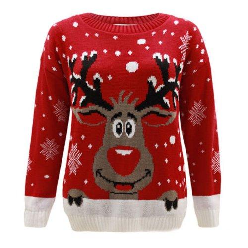Fashion Top Rudolph Size nbsp;20 nbsp;22 nbsp;26 Plus a renna Natale nbsp;30 Maglione Generazione di da donna nbsp;24 Red 16 nbsp;28 forma dqdwv0g