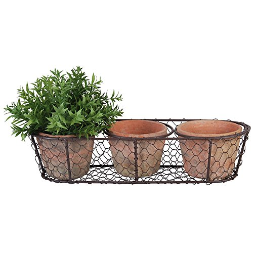 Esschert Design AT11 Aged Terracotta 3 Flowerpots in Metal Basket Aged Terra Cotta Pot