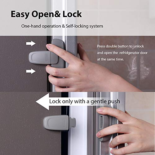 51hAL2jsyWL EUDEMON Home Refrigerator Fridge Freezer Door Lock Latch Catch Toddler Kids Child Cabinet Locks Baby Safety Child Lock Easy to Install and Use 3M Adhesive no Tools Need or Drill (Grey)    Product Description
