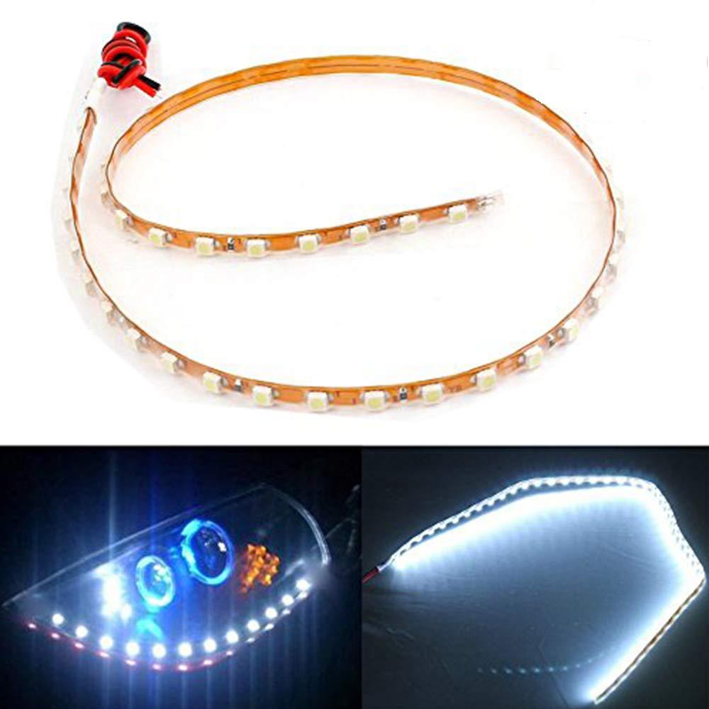 EverBright 4-Pack bianco 45CM 45-SMD 1210 DC 12V impermeabile striscia flessibile LED luce per sotto auto atmosfera interni decorazione veicoli leggeri DRL luci diurne (è necessario il nastro 3M)